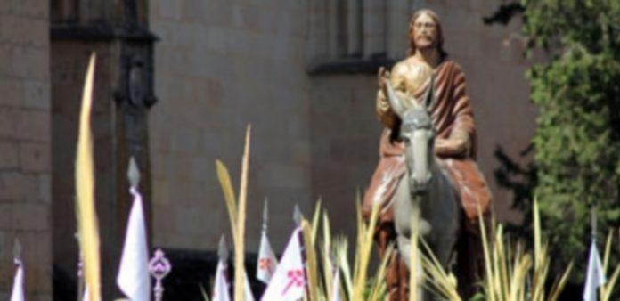 """El paso """"Jesús entrando en Jerusalén"""" de José María García Moro parece caminar entre las palmas a su salida de la Catedral./ m.g."""
