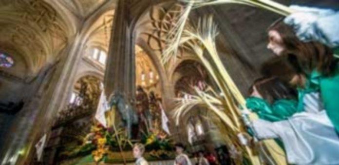La imagen de 'Jesús entrando en Jerusalén' (1964) en el interior de la Catedral