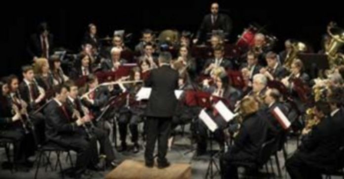 Un momento de la actuación de la Banda de Nava de la Asunción que dirige Víctor José Fernández Lucerón. / juan martin