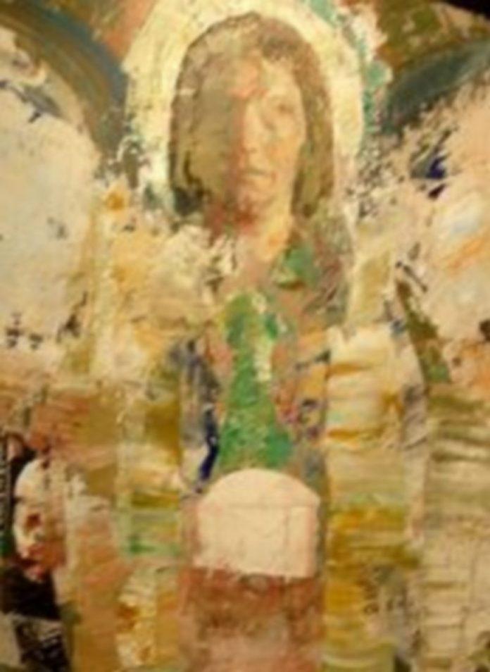Mariano Carabias. Gabriel. El poder del omnipresente. Serie Los Ángeles. 2010. Acrílico sobre tabla. 210 x 105 cms.