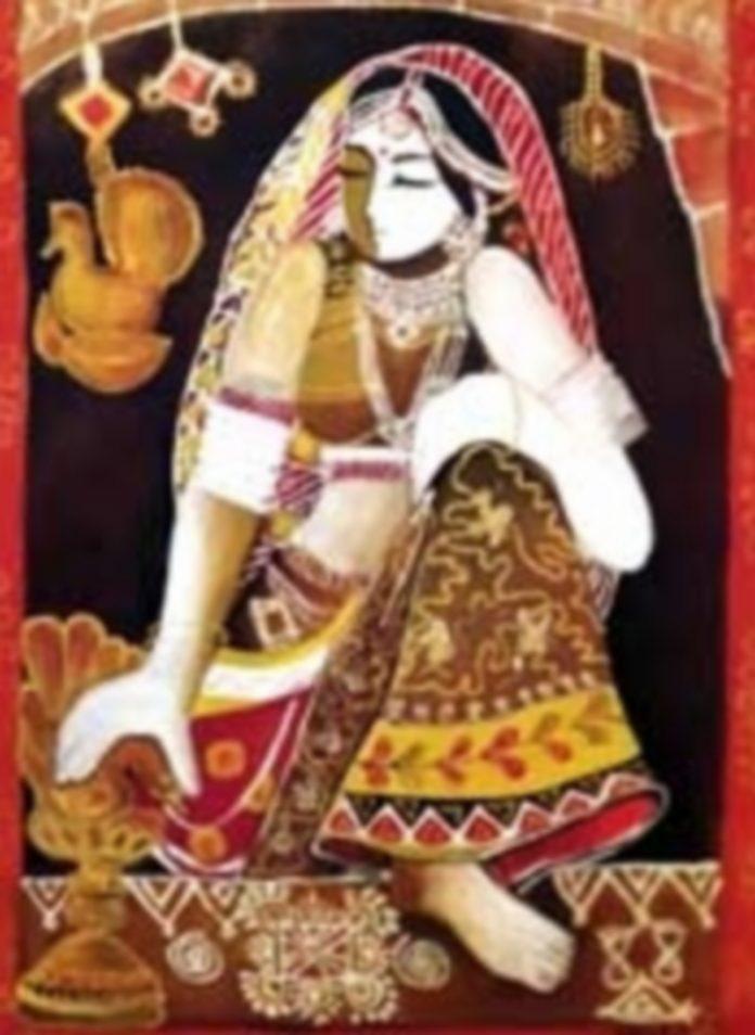 Kishi Singh (1972. Nueva Dehli). La mujer con la lámpara. Óleo sobre lienzo. 70 x 50 cms.