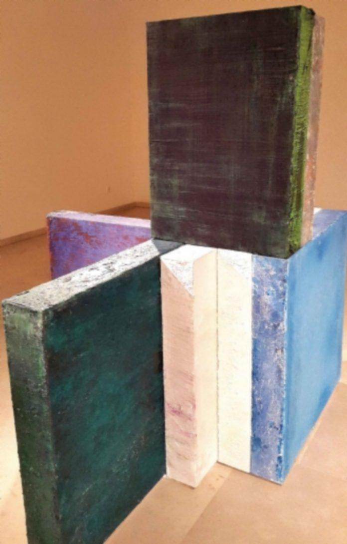 Alberto Reguera. Mendeslshon's Symphonies. 2009. Técnica mixta. Pintura expansiva. 200 x 200 x 21 cms. Colección del artista.