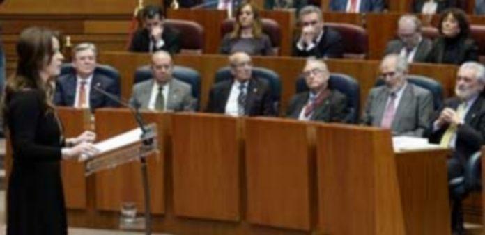 La presidenta de las Cortes de Castilla y León durante el discurso con motivo del 33 Aniversario del Estatuto . / Efe