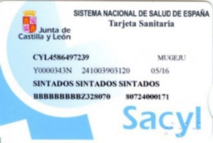 Imagen del frontal de la nueva tarjeta sanitaria de los usuarios del Sacyl. / jcyL