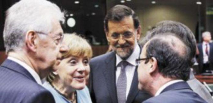 Angela Merkel conversa con Mario Monti (i)
