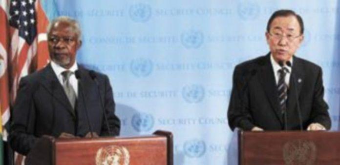Kofi Annan (izquierda) y Ban Ki-Moon (derecha)