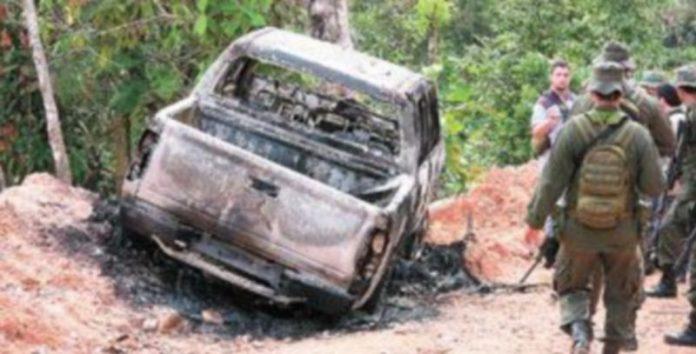 La camioneta en la que fue secuestrado el gobernador del departamento colombiano del Caquetá