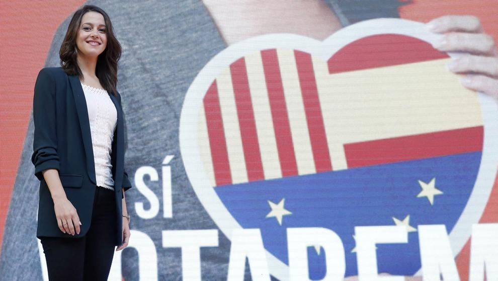 La candidata de C's a la presidencia de la Generalitat, Inés Arrimadas, durante el acto de presentación de la campaña./ EFE