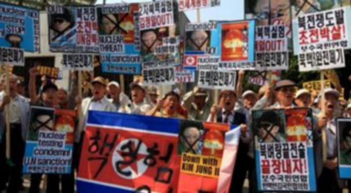 Activistas surcoreanos protestan contra Corea del Norte
