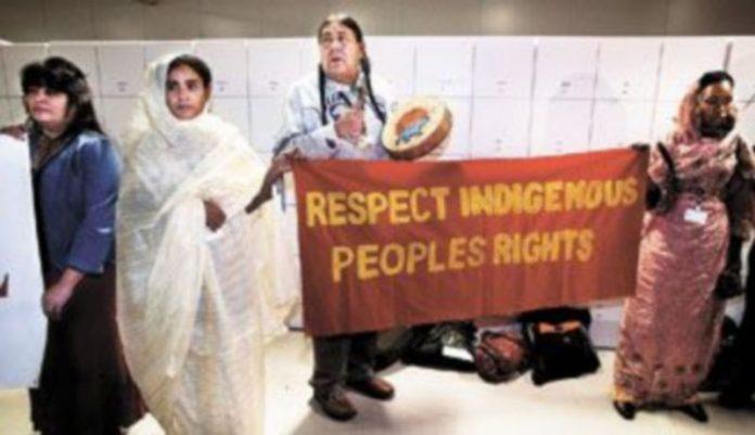 Los activistas se paseaban por el palacio de conferencias exigiendo actuar ya