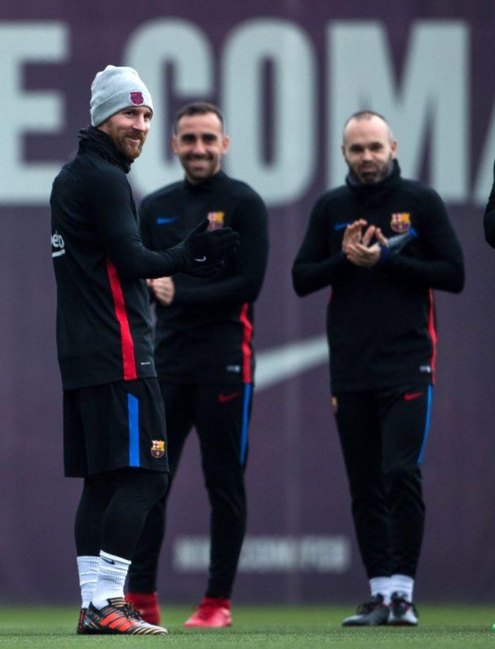 Messi, Alcácer e Iniesta, en el último entrenamiento antes de recibir al Celta.