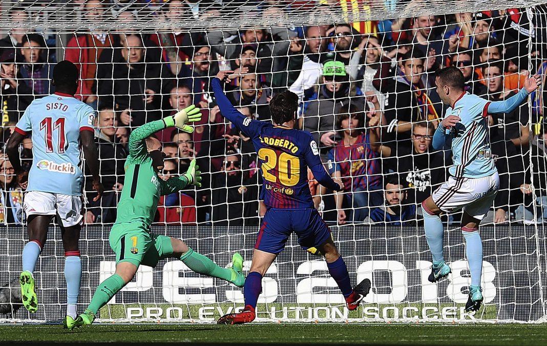 Aspas marca el primer gol ante el Barça tras una gran parada de Ter Stegen.