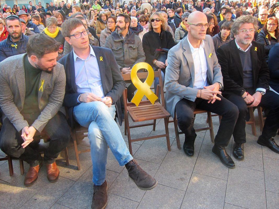 Principales líderes de ERC en el mitin. /E. P.