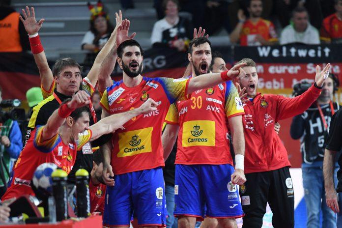 El banquillo español celebra el triunfo ante Alemania que dio el pase a los 'Hispanos' a la semifinal.