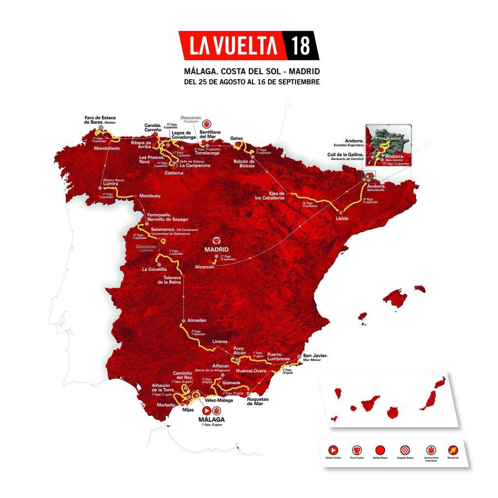 Recorrido de la Vuelta 2018.