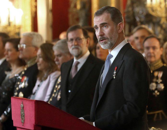 Felipe VI durante el discurso que pronunció en la recepción ofrecida al cuerpo diplomático acreditado en España.