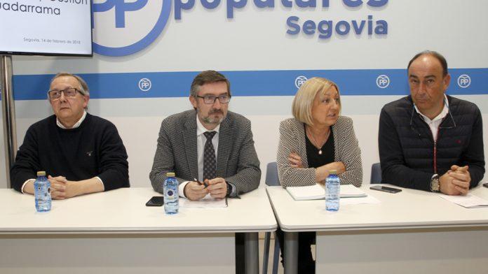 López-Escobar, Arranz, Sanz y De Vicente, en la sede del PP. / Nerea Llorente