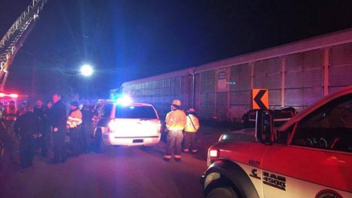 Varios efectivos sanitarios y de rescate se acercan al lugar del choque entre dos trenes en Carolina del Sur.