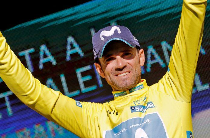 Alejandro Valverde, con el maillot amarillo de ganador de la Vuelta a la Comunidad Valenciana.