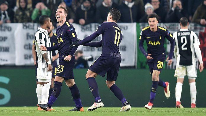 Eriksen celebra el gol del empate del Tottenham ante la Juventus en Turín.