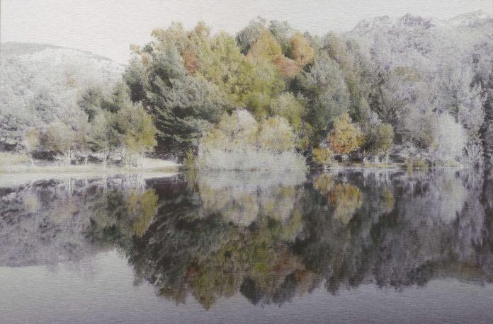 Cuadro perteneciente a la seria 'Reflejos de otoño en el pantano' que se expone desde mañana en Madrid.
