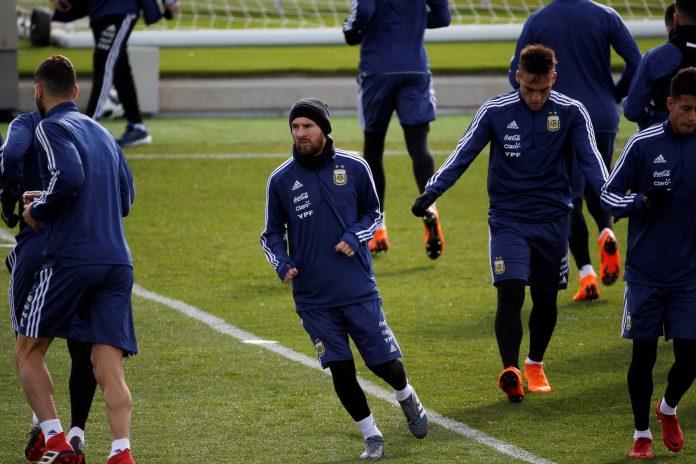 Messi, durante el entrenamiento realizado el domingo en la Ciudad Deportiva de Valdebebas