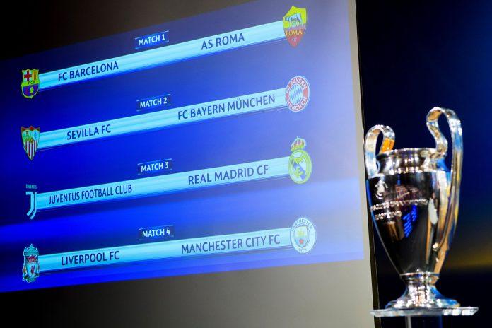 La copa de campeón de la Liga de Campeones, junto al cuadro de cuartos de final.