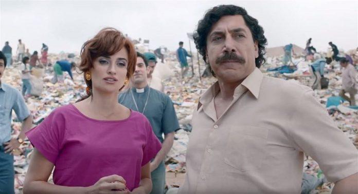Penélope Cruz y Javier Bardem, ambos nominados en sendas categorías, en un fotograma de su cinta 'Loving Pablo'.