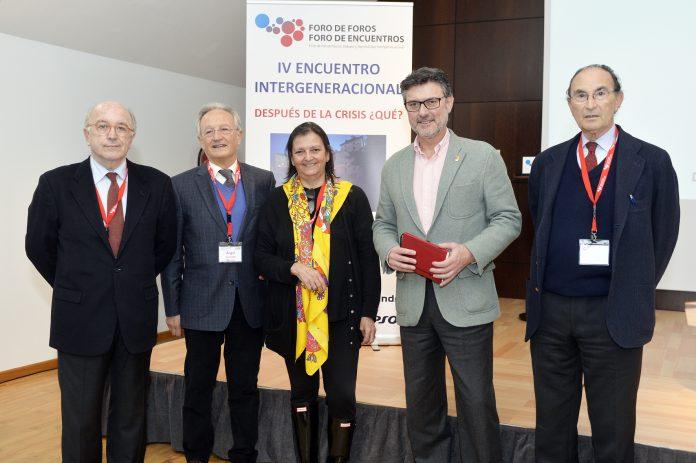 Joaquín Almunia, Ángel Durández, Margarita López, José Luis Vázquez y Emilio Lamo Espinosa, en el foro.