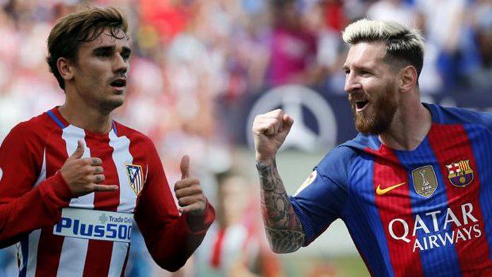 El delantero rojiblanco Antoine Griezmann, más allá de situarse en la órbita del Barça para la próxima temporada, plantará cara a un Messi que es 'pichichi' provisional del campeonato.