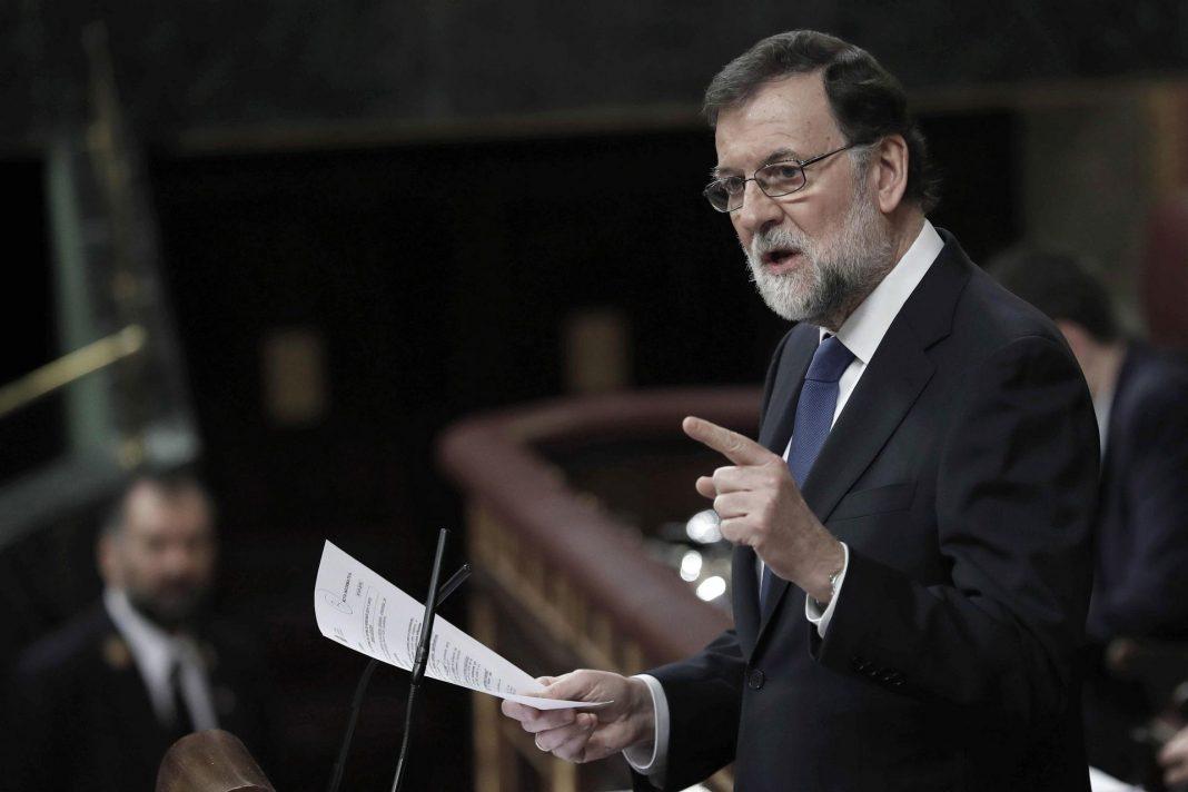 El presidente del Gobierno, Mariano Rajoy, durante su intervención en la sesión plenaria de hoy en el Congreso.
