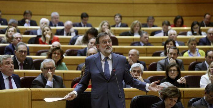 El presidente del Gobierno, Mariano Rajoy, durante la última sesión de control al Ejecutivo en el Senado.