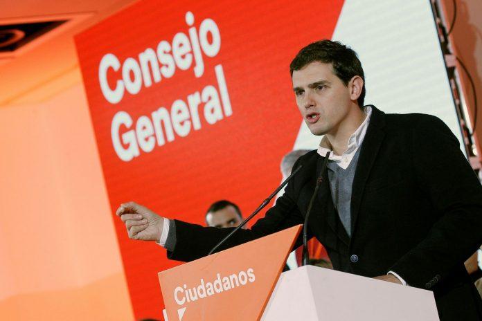 El presidente de Ciudadanos, Albert Rivera, durante su intervención en el primer Consejo General del partido este año.