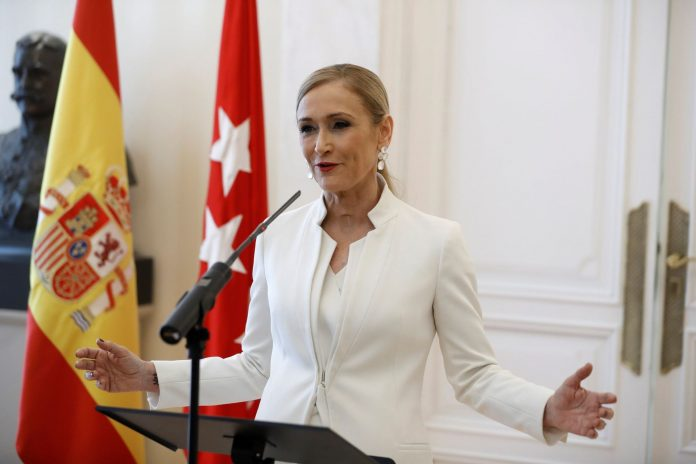 La expresidenta de la Comunidad de Madrid, Cristina Cifuentes, durante la rueda de prensa del miércoles.