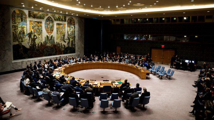 Los miembros del Consejo de Seguridad de la ONU durante la reunión en la sede de la organización.