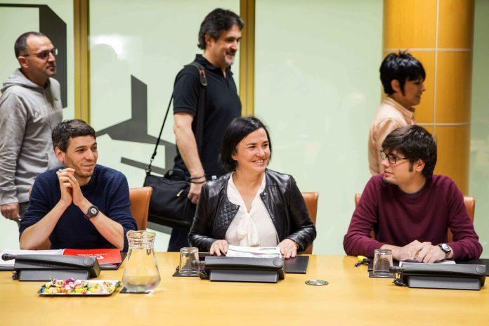 Algunos representantes de EH Bildu en la ponencia del Parlamento Vasco.