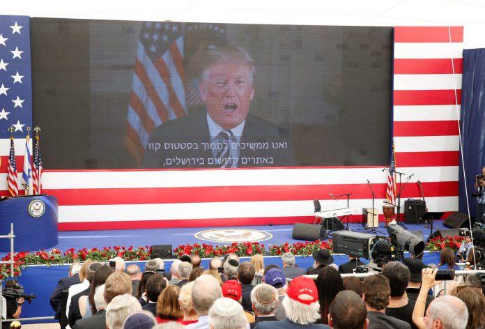 El presidente de Estados Unidos, Donald Trump, se dirige por videoconferencia a la embajada en Jerusalén.