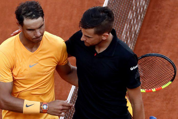 Nadal felicita a Thiem tras su derrota en cuartos de final del Mutua Madrid Open.