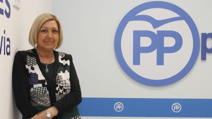 Paloma Sanz, en la sede del PP. / Nerea Llorente