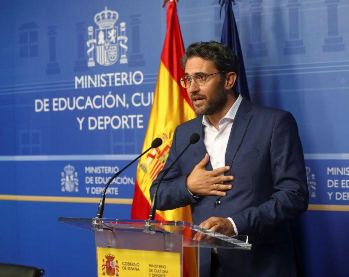 El ya exministro de Cultura y Deporte, Màxim Huerta, durante la rueda de prensa para anunciar su dimisión.