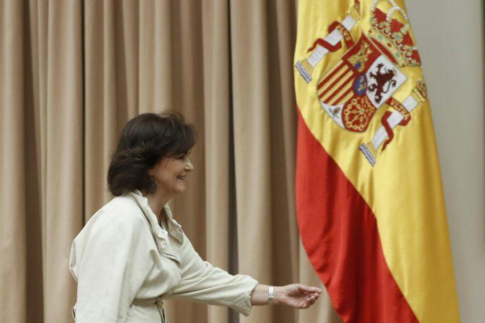 La vicepresidenta del Gobierno, Carmen Calvo, durante su comparecencia en el Congreso.