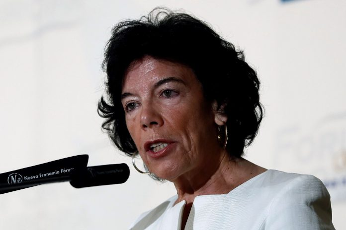 La ministra de Educación y Formación Profesional, Isabel Celaá, durante su intervención en Fórum Europa.