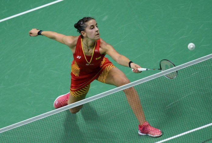 Carolina Marín, durante su partido de cuartos ante la india Saina Nehwal.