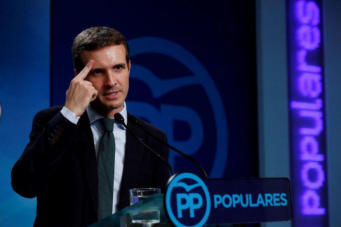 El presidente del PP, Pablo Casado, durante su rueda de prensa.