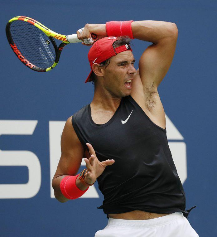 Rafa Nadal durante un entrenamiento en el US Open.