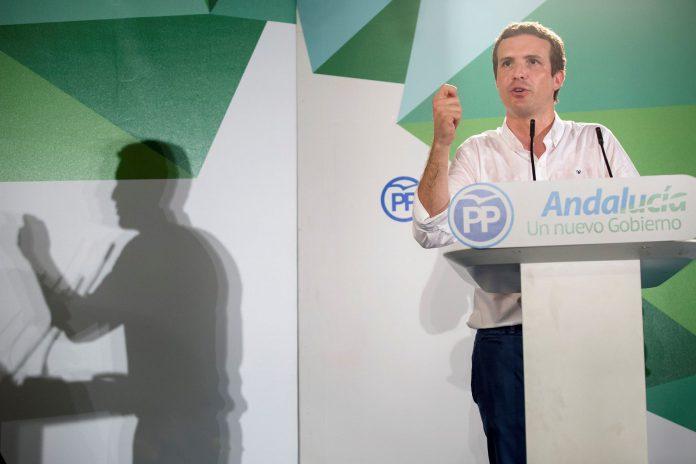 El presidente del Partido Popular, Pablo Casado, ayer en Álora (Málaga).