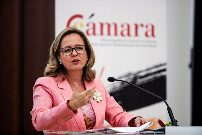 La ministra de Economía y Empresa, Nadia Calviño, durante su intervención en un evento en Frankfurt.
