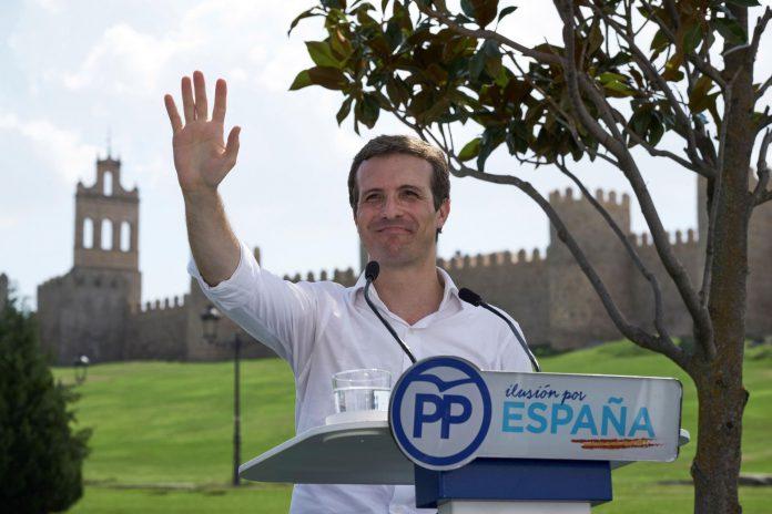 El presidente del PP, Pablo Casado, durante el acto celebrado en Ávila con el que comienza el curso político.