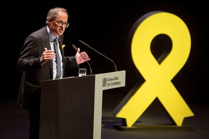 Quim Torra, presidente de la Generalitat, ayer en la conferencia.