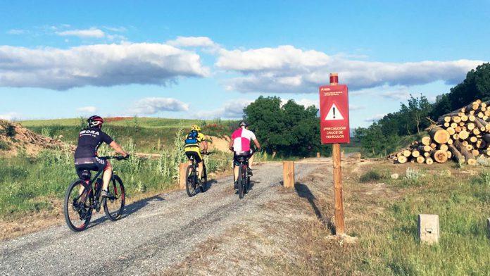 Un grupo de cicloturistas, en la Vía Verde Valle del Eresma. / el adelantado